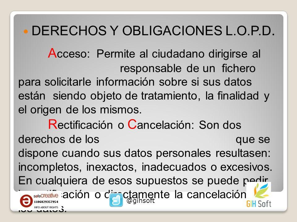 DERECHOS Y OBLIGACIONES L.O.P.D.