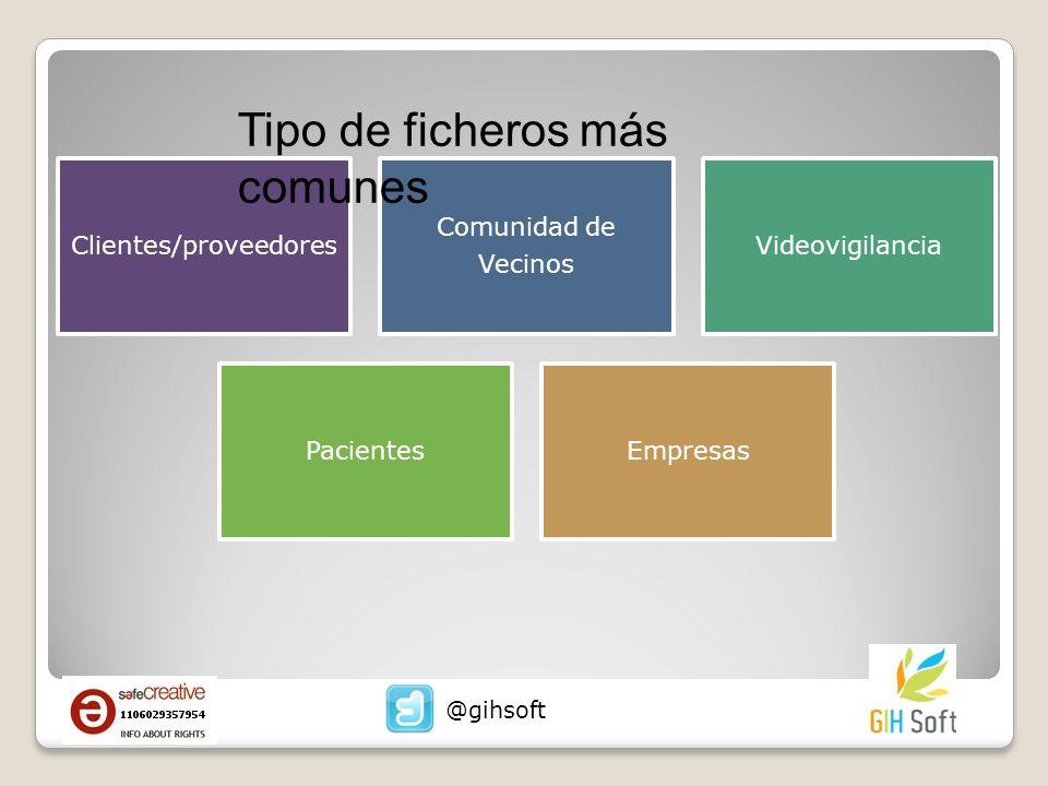 Clientes/proveedores Comunidad de Vecinos Videovigilancia PacientesEmpresas Tipo de ficheros más comunes @gihsoft