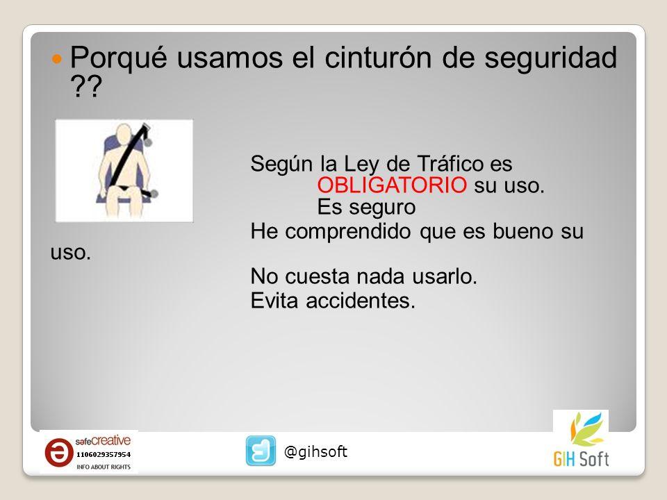 Porqué usamos el cinturón de seguridad ?.Según la Ley de Tráfico es OBLIGATORIO su uso.