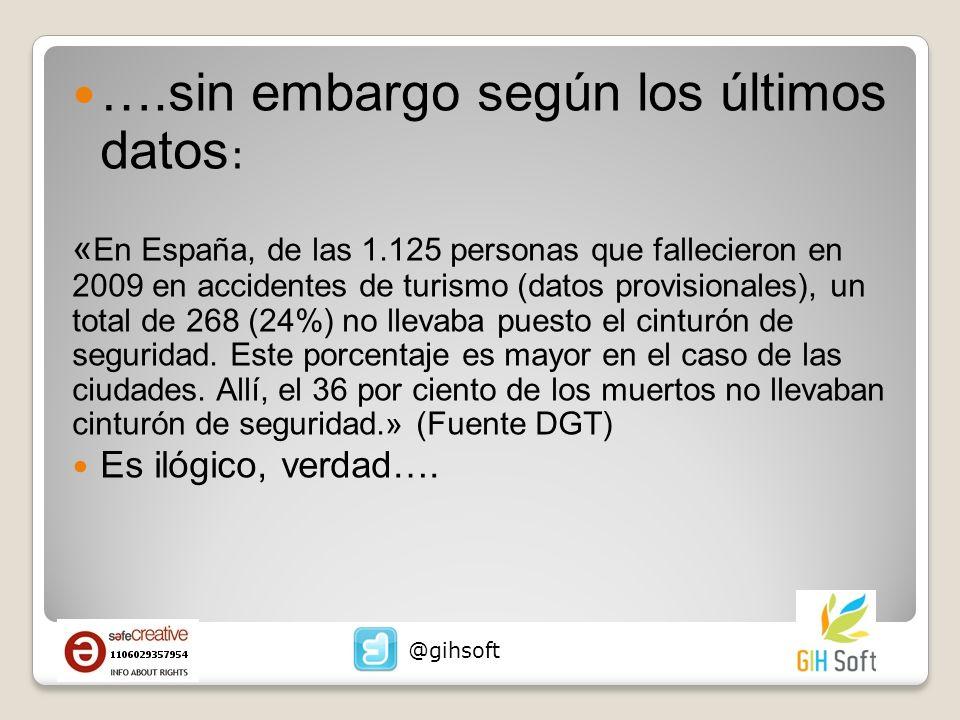 ….sin embargo según los últimos datos : « En España, de las 1.125 personas que fallecieron en 2009 en accidentes de turismo (datos provisionales), un total de 268 (24%) no llevaba puesto el cinturón de seguridad.
