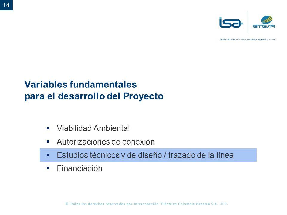 14 Variables fundamentales para el desarrollo del Proyecto Viabilidad Ambiental Autorizaciones de conexión Estudios técnicos y de diseño / trazado de la línea Financiación
