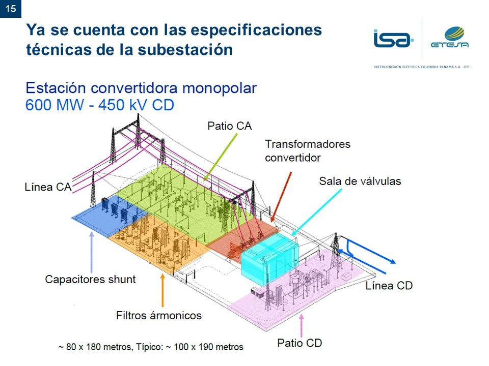 15 Ya se cuenta con las especificaciones técnicas de la subestación