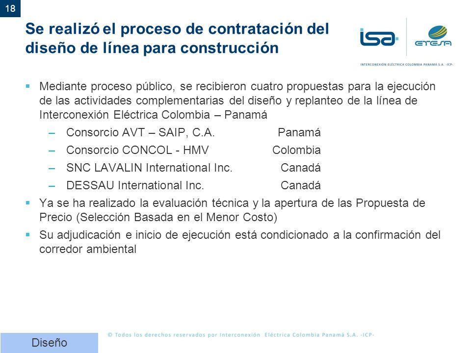 18 Se realizó el proceso de contratación del diseño de línea para construcción Mediante proceso público, se recibieron cuatro propuestas para la ejecución de las actividades complementarias del diseño y replanteo de la línea de Interconexión Eléctrica Colombia – Panamá –Consorcio AVT – SAIP, C.A.Panamá –Consorcio CONCOL - HMVColombia –SNC LAVALIN International Inc.