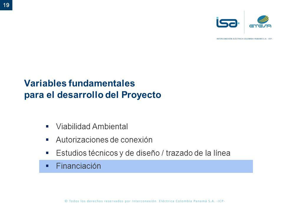 19 Variables fundamentales para el desarrollo del Proyecto Viabilidad Ambiental Autorizaciones de conexión Estudios técnicos y de diseño / trazado de la línea Financiación