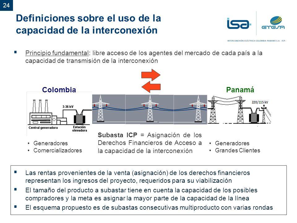 24 Definiciones sobre el uso de la capacidad de la interconexión Subasta ICP = Asignación de los Derechos Financieros de Acceso a la capacidad de la interconexión Principio fundamental: libre acceso de los agentes del mercado de cada país a la capacidad de transmisión de la interconexión Colombia Generadores Comercializadores Panamá Generadores Grandes Clientes Las rentas provenientes de la venta (asignación) de los derechos financieros representan los ingresos del proyecto, requeridos para su viabilización El tamaño del producto a subastar tiene en cuenta la capacidad de los posibles compradores y la meta es asignar la mayor parte de la capacidad de la línea El esquema propuesto es de subastas consecutivas multiproducto con varias rondas
