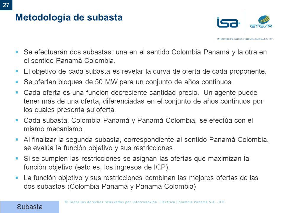 27 Metodología de subasta Se efectuarán dos subastas: una en el sentido Colombia Panamá y la otra en el sentido Panamá Colombia. El objetivo de cada s