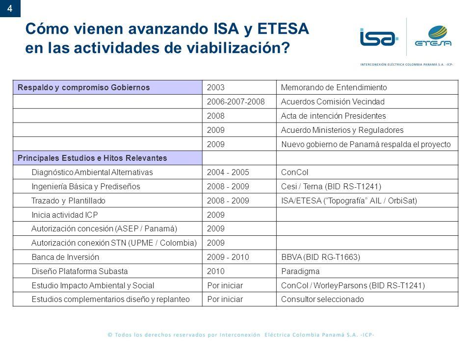 4 Cómo vienen avanzando ISA y ETESA en las actividades de viabilización? Respaldo y compromiso Gobiernos2003Memorando de Entendimiento 2006-2007-2008A