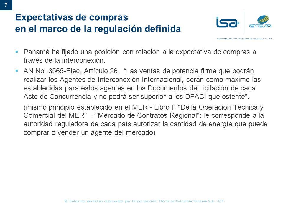7 Expectativas de compras en el marco de la regulación definida Panamá ha fijado una posición con relación a la expectativa de compras a través de la