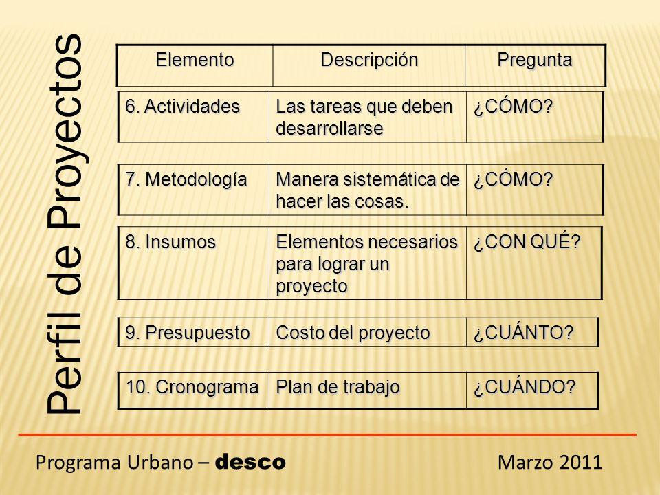 Programa Urbano – desco Marzo 2011 Perfil de Proyectos 6. Actividades Las tareas que deben desarrollarse ¿CÓMO? 7. Metodología Manera sistemática de h