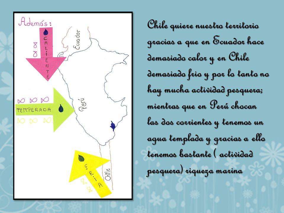 Chile quiere nuestro territorio gracias a que en Ecuador hace demasiado calor y en Chile demasiado frio y por lo tanto no hay mucha actividad pesquera