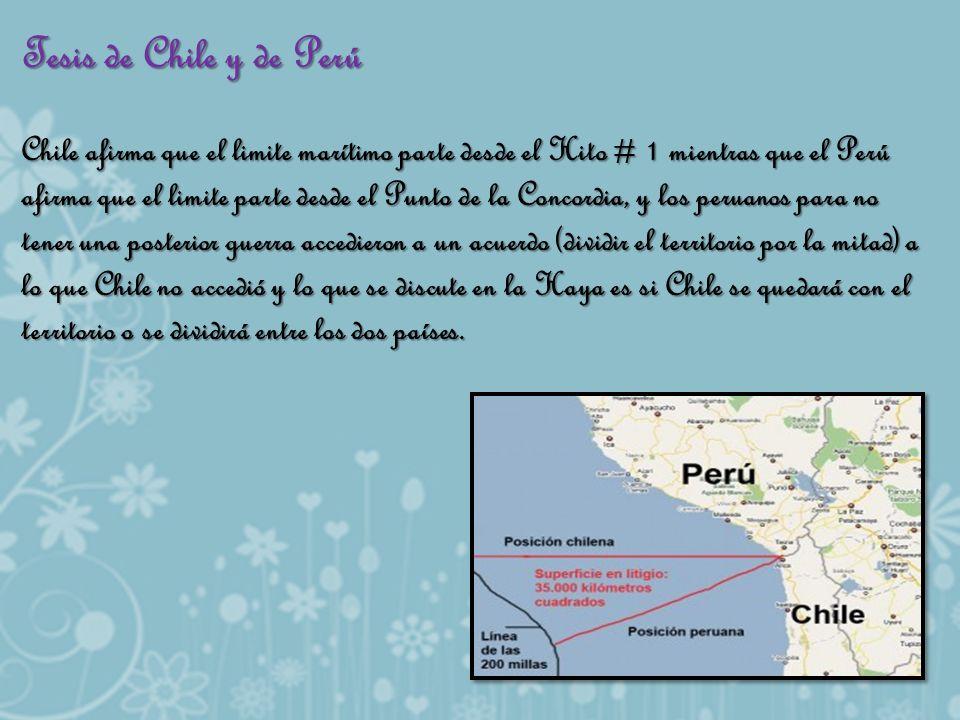 Tesis de Chile y de Perú Chile afirma que el limite marítimo parte desde el Hito # 1 mientras que el Perú afirma que el limite parte desde el Punto de