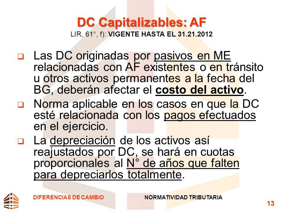 DC Capitalizables: AF DC Capitalizables: AF LIR, 61°, f): VIGENTE HASTA EL 31.21.2012 Las DC originadas por pasivos en ME relacionadas con AF existent