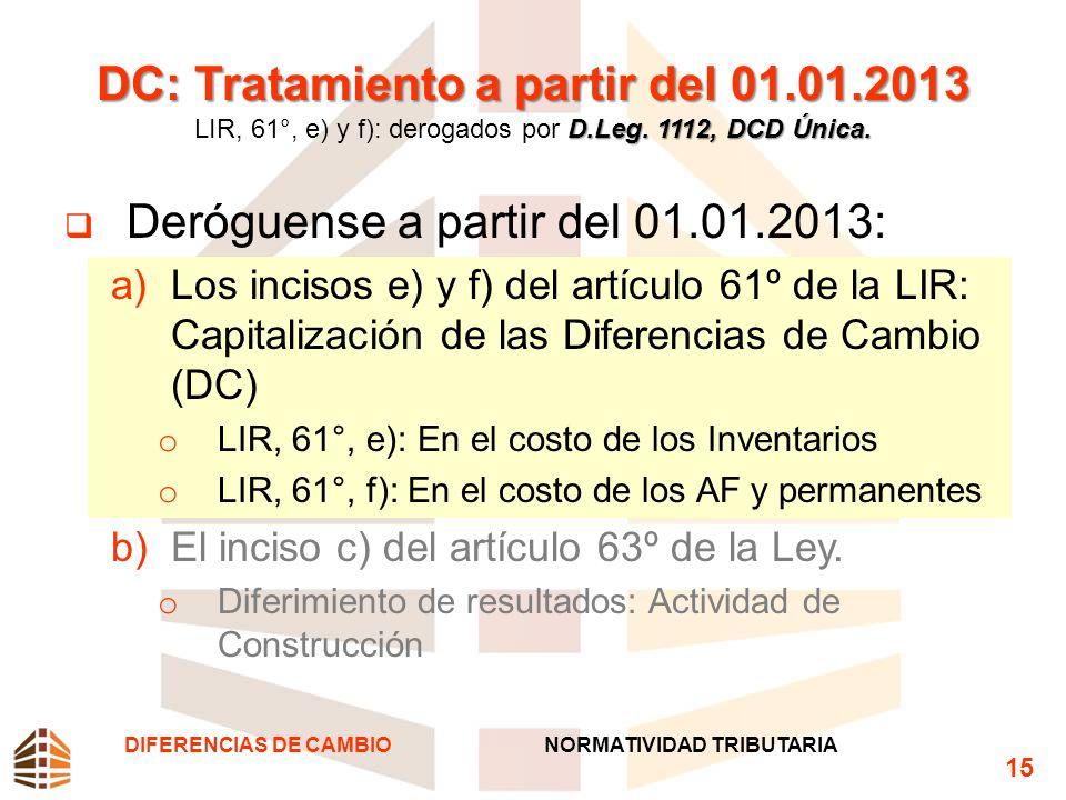 DC: Tratamiento a partir del 01.01.2013 D.Leg. 1112, DCD Única. DC: Tratamiento a partir del 01.01.2013 LIR, 61°, e) y f): derogados por D.Leg. 1112,