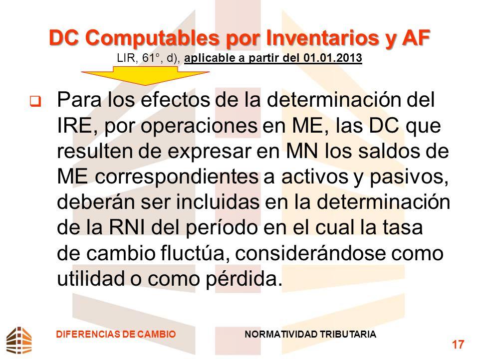DC Computables por Inventarios y AF DC Computables por Inventarios y AF LIR, 61°, d), aplicable a partir del 01.01.2013 Para los efectos de la determi