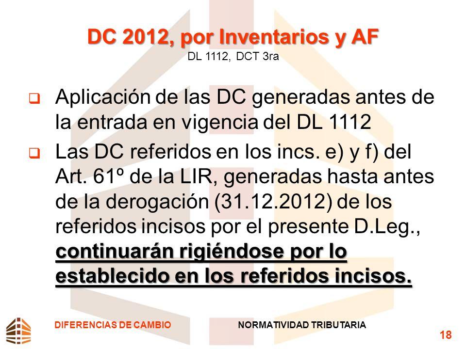 DC 2012, por Inventarios y AF DC 2012, por Inventarios y AF DL 1112, DCT 3ra Aplicación de las DC generadas antes de la entrada en vigencia del DL 111