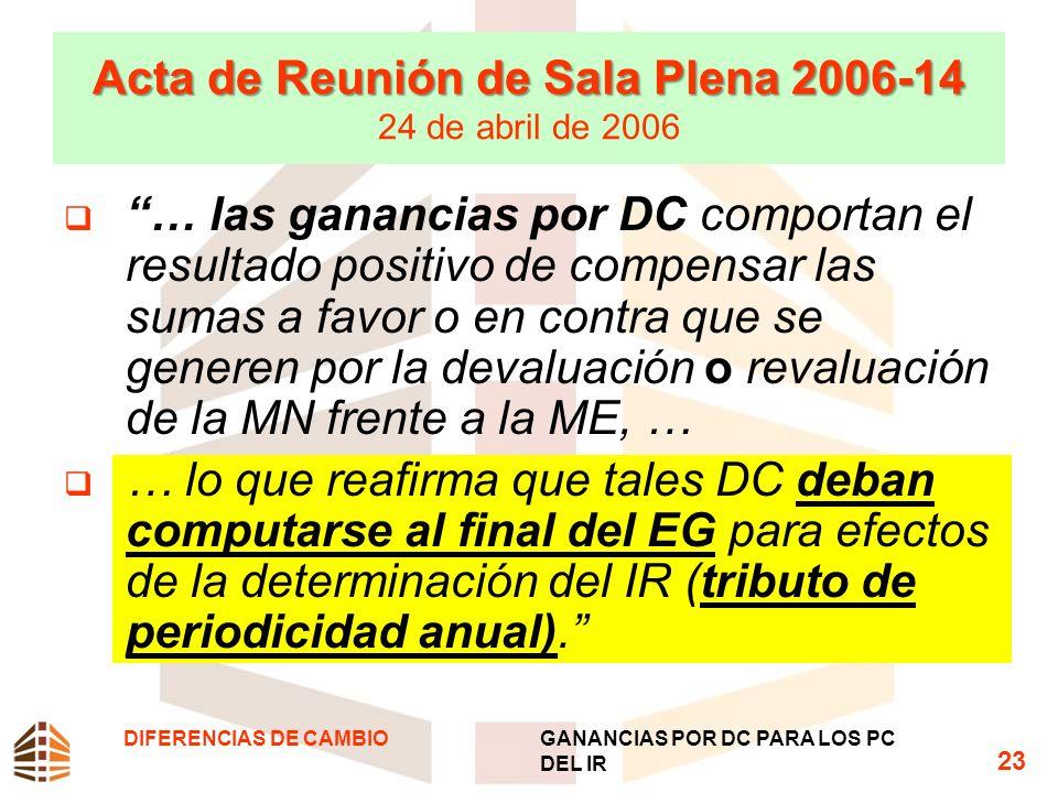 Acta de Reunión de Sala Plena 2006-14 Acta de Reunión de Sala Plena 2006-14 24 de abril de 2006 … las ganancias por DC comportan el resultado positivo