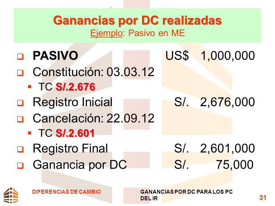 Ganancias por DC realizadas Ganancias por DC realizadas Ejemplo: Pasivo en ME PASIVO US$1,000,000 Constitución: 03.03.12 S/.2.676 TC S/.2.676 Registro