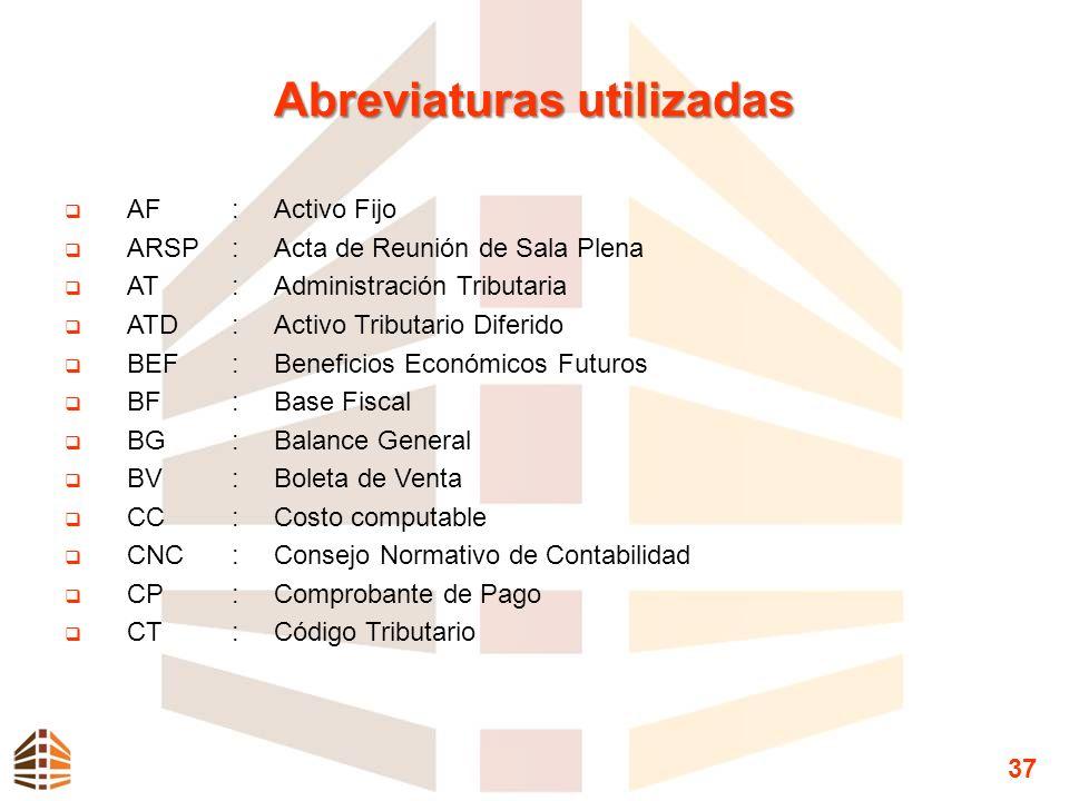 Abreviaturas utilizadas AF:Activo Fijo ARSP:Acta de Reunión de Sala Plena AT:Administración Tributaria ATD:Activo Tributario Diferido BEF:Beneficios E