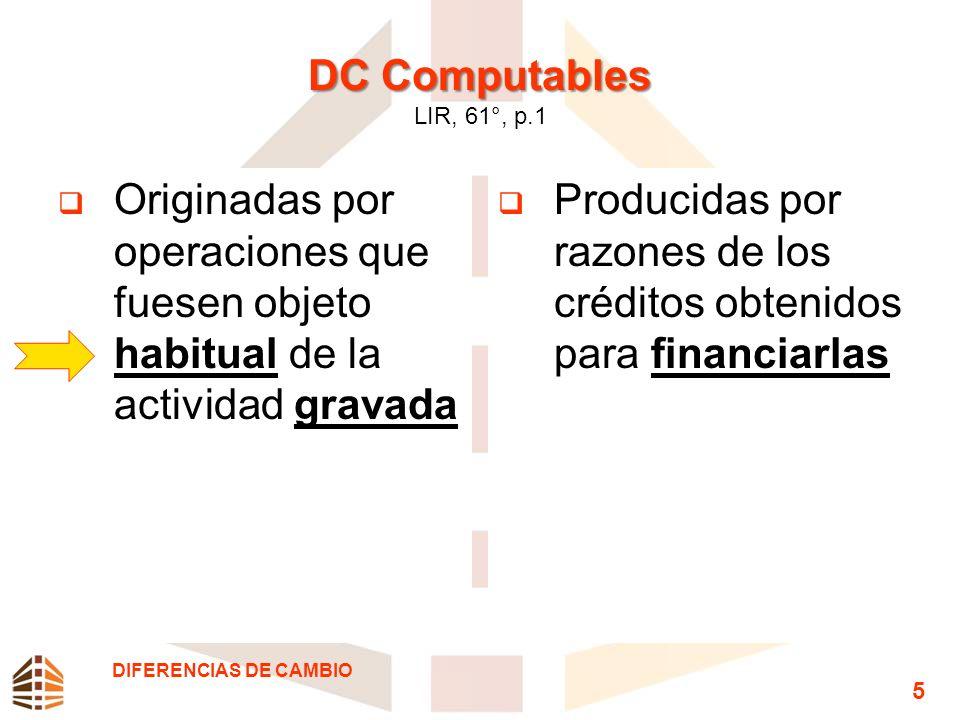 DC Computables DC Computables LIR, 61°, p.1 Originadas por operaciones que fuesen objeto habitual de la actividad gravada Producidas por razones de lo