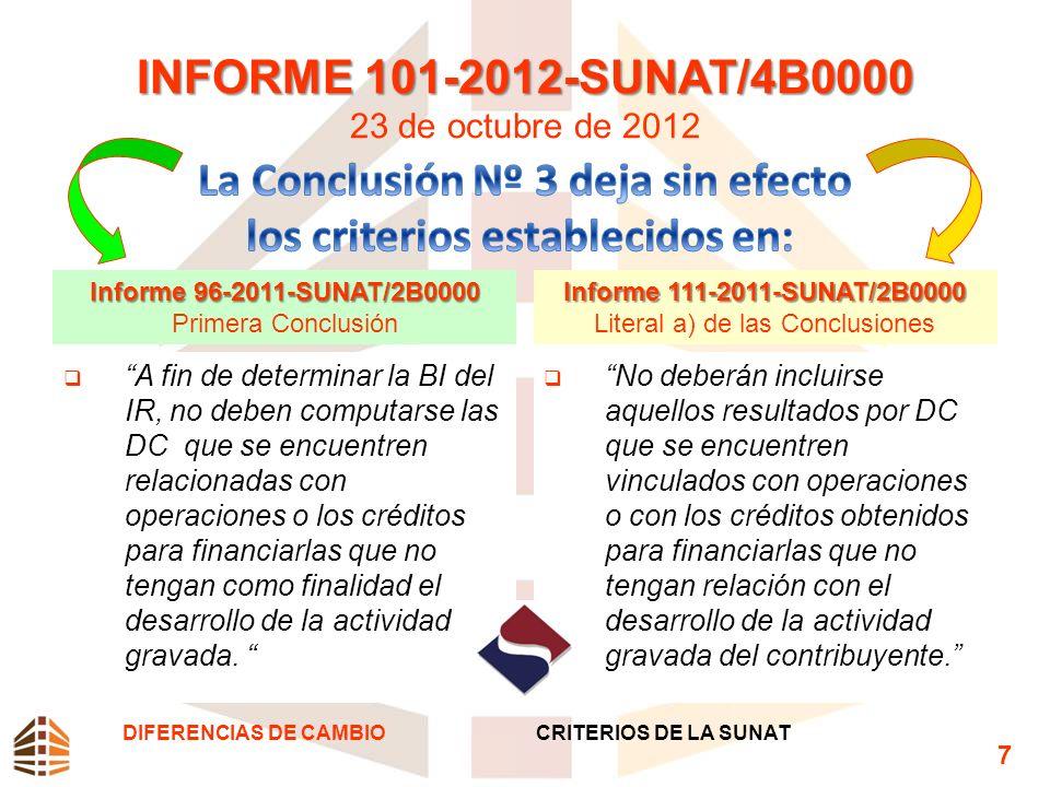 INFORME 101-2012-SUNAT/4B0000 INFORME 101-2012-SUNAT/4B0000 23 de octubre de 2012 Informe 96-2011-SUNAT/2B0000 Primera Conclusión A fin de determinar