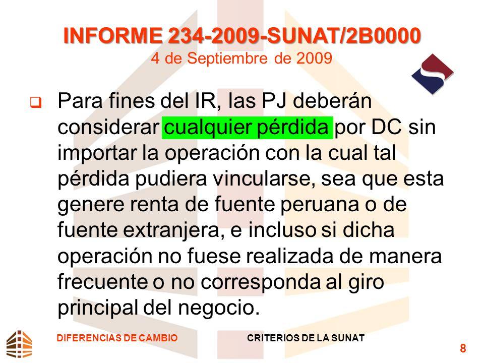 INFORME 101-2012-SUNAT/4B0000 INFORME 101-2012-SUNAT/4B0000 23 de Octubre de 2012 1.Las DC generadas con ocasión del depósito de dinero en el extranjero realizado por una sucursal en el Perú de una empresa constituida en el exterior, que realiza actividades gravadas con el IR, constituye resultados computables a efectos de la determinación de su RN3.