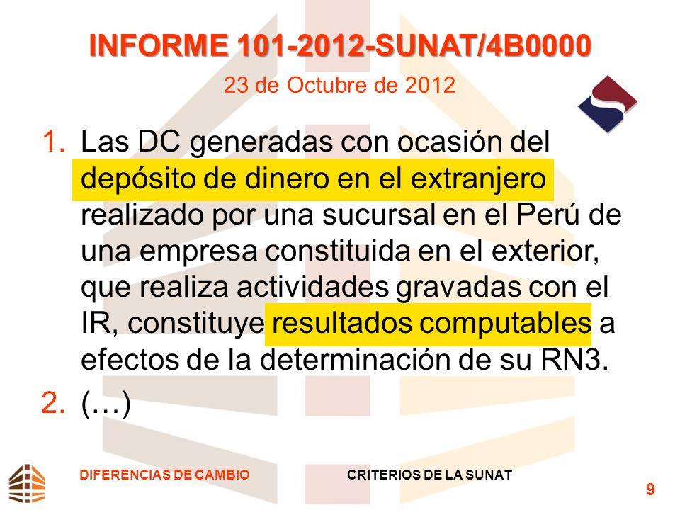 INFORME 101-2012-SUNAT/4B0000 INFORME 101-2012-SUNAT/4B0000 23 de Octubre de 2012 1.Las DC generadas con ocasión del depósito de dinero en el extranje
