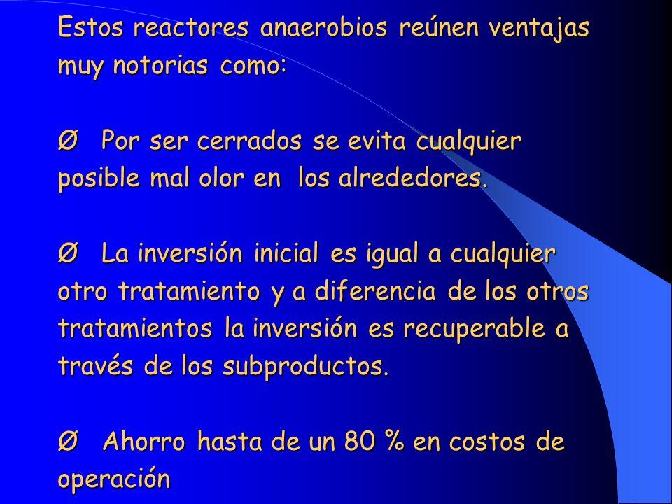 Estos reactores anaerobios reúnen ventajas muy notorias como: Ø Por ser cerrados se evita cualquier posible mal olor en los alrededores. Ø La inversió