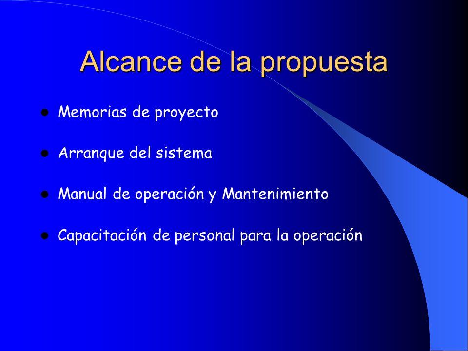Alcance de la propuesta Memorias de proyecto Arranque del sistema Manual de operación y Mantenimiento Capacitación de personal para la operación