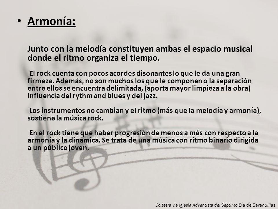 La estructuración del rock debe contar con tres componentes: Melodía, Armonía y Ritmo. Melodía: Apoyada por la voz humana, aunque con más importancia