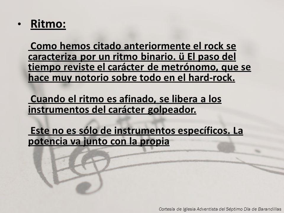 Armonía: Junto con la melodía constituyen ambas el espacio musical donde el ritmo organiza el tiempo. El rock cuenta con pocos acordes disonantes lo q