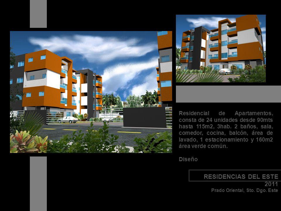Residencial de Apartamentos, consta de 24 unidades desde 90mts hasta 115m2, 3hab. 2 baños, sala, comedor, cocina, balcón, área de lavado, 1 estacionam