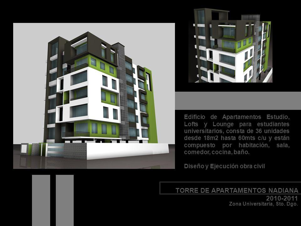 Edificio de Apartamentos Estudio, Lofts y Lounge para estudiantes universitarios, consta de 36 unidades desde 18m2 hasta 60mts c/u y están compuesto p
