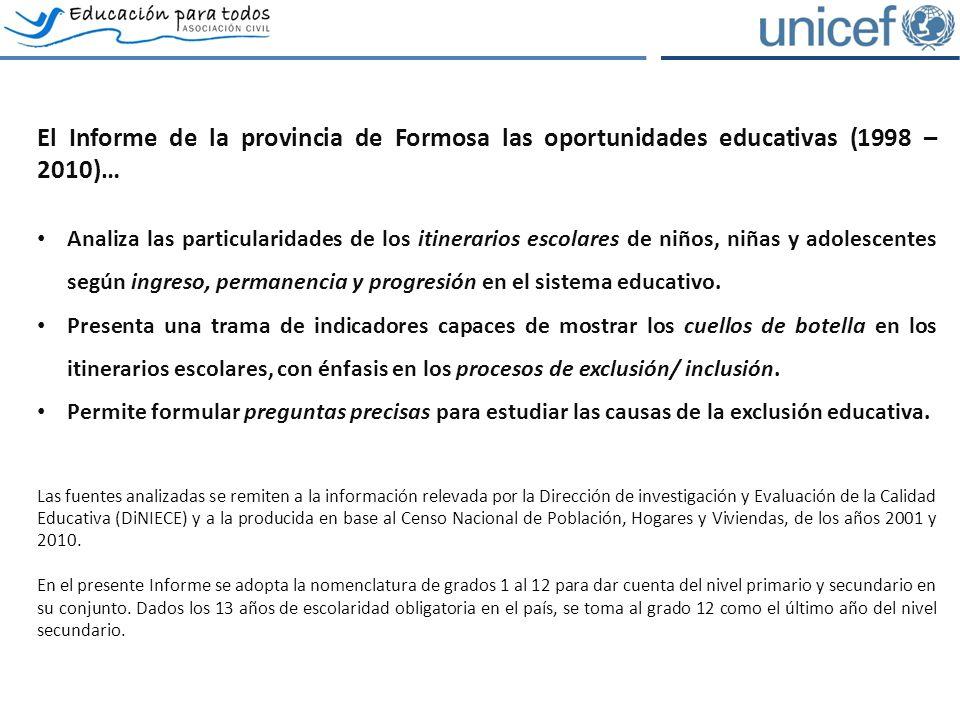 El Informe de la provincia de Formosa las oportunidades educativas (1998 – 2010)… Analiza las particularidades de los itinerarios escolares de niños, niñas y adolescentes según ingreso, permanencia y progresión en el sistema educativo.
