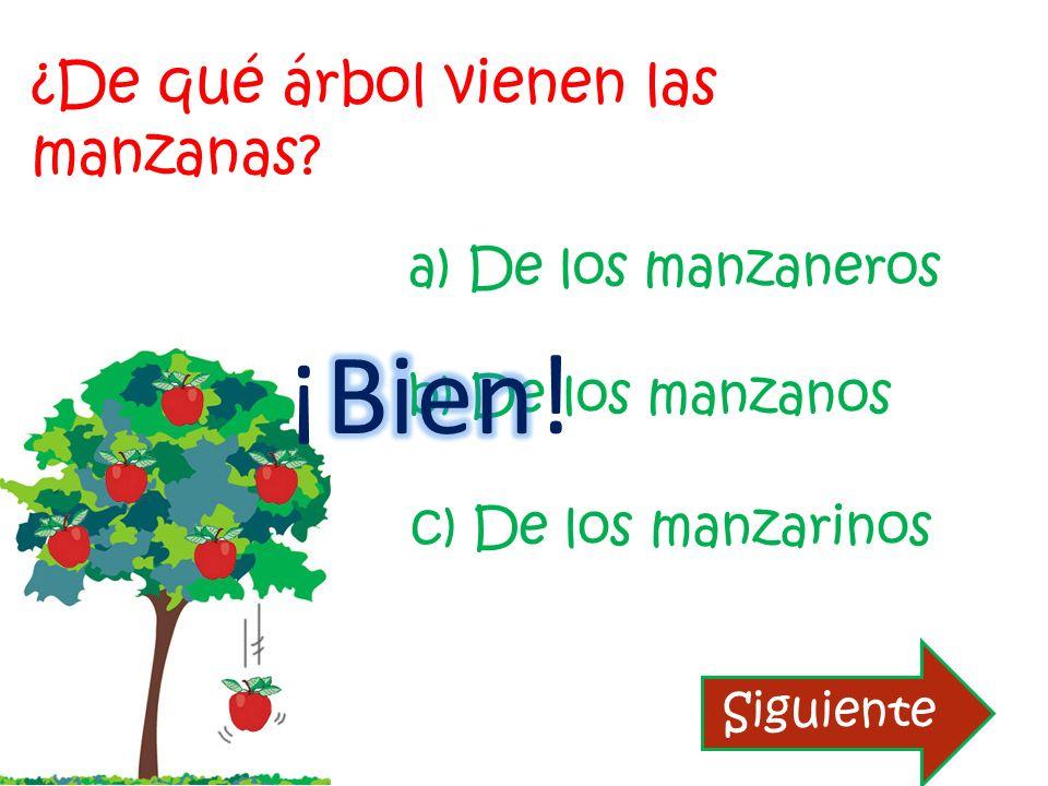 ¿De qué árbol vienen las manzanas? b) De los manzanos a) De los manzaneros c) De los manzarinos Reintentar