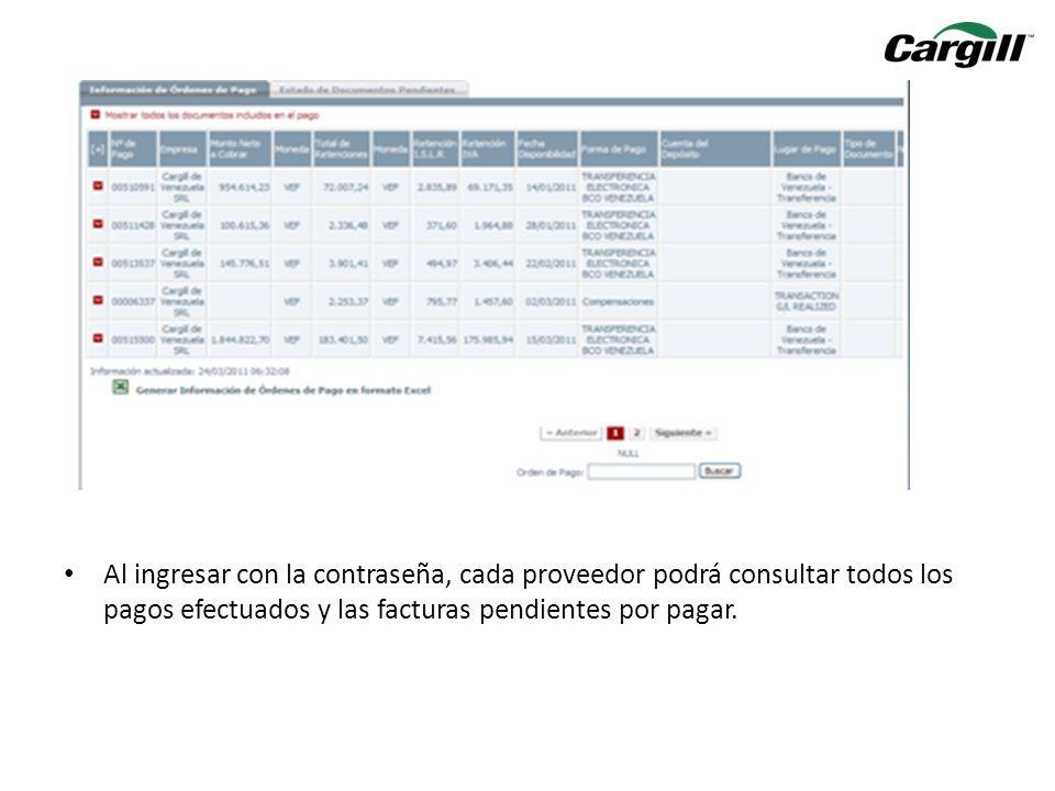Al desplazar la barra inferior hasta la derecha, se podrá visualizar en la última columna de Retenciones, un formato PDF el cual contendrá las retenciones.