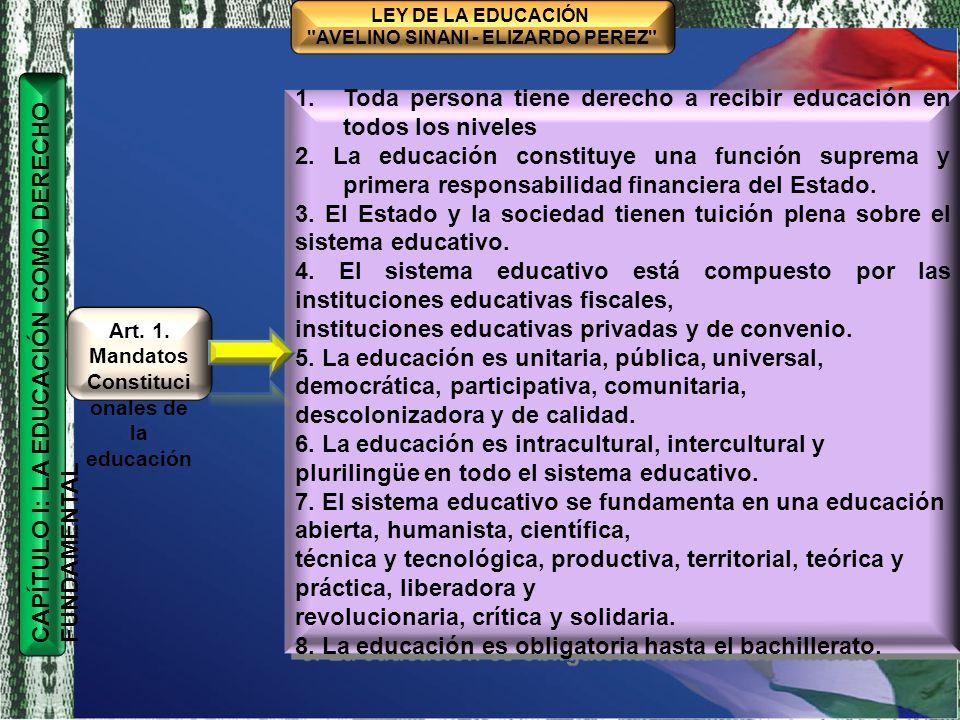 TÍTULO I MARCO FILOSÓFICO Y POLÍTICO DE LA EDUCACIÓN BOLIVIANA CAPÍTULO ÚNICO BASES, FINES Y OBJETIVOS DE LA EDUCACIÓN BOLIVIANA CONSTRUCCIÓN COLECTIVA HISTÓRICA LEY DE LA EDUCACIÓN AVELINO SINANI - ELIZARDO PEREZ Artículo 2 Disposicione s Generales T Í TULO II SISTEMA EDUCATIVO PLURINACIONAL I.