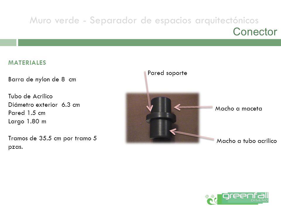 Muro verde - Separador de espacios arquitectónicos Conector MATERIALES Barra de nylon de 8 cm Tubo de Acrílico Diámetro exterior 6.3 cm Pared 1.5 cm L