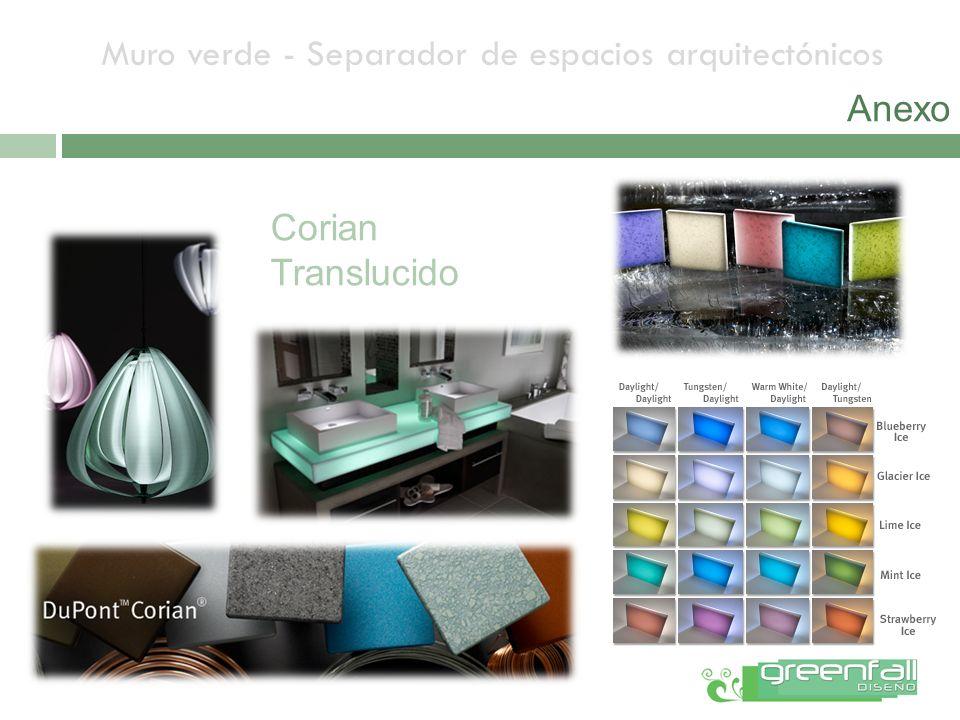 Muro verde - Separador de espacios arquitectónicos Corian Translucido Anexo