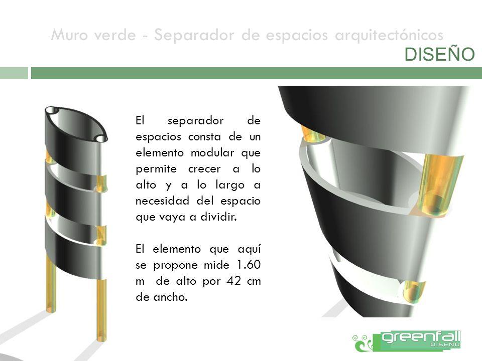 El separador de espacios consta de un elemento modular que permite crecer a lo alto y a lo largo a necesidad del espacio que vaya a dividir. El elemen