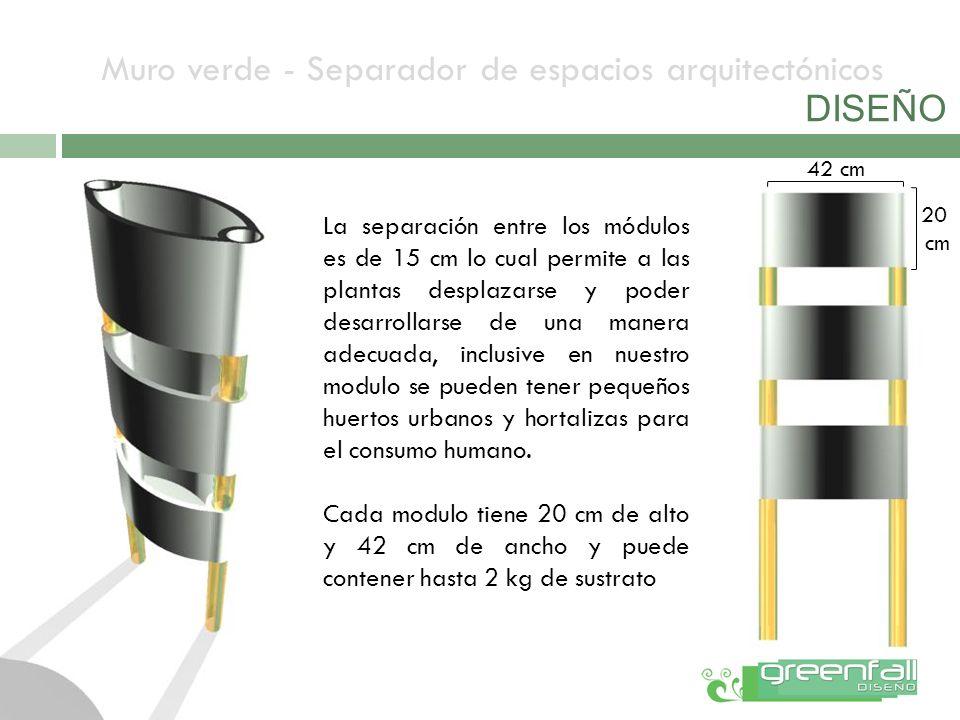 Muro verde - Separador de espacios arquitectónicos DISEÑO La separación entre los módulos es de 15 cm lo cual permite a las plantas desplazarse y pode