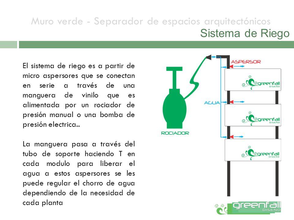 Muro verde - Separador de espacios arquitectónicos Sistema de Riego El sistema de riego es a partir de micro aspersores que se conectan en serie a tra