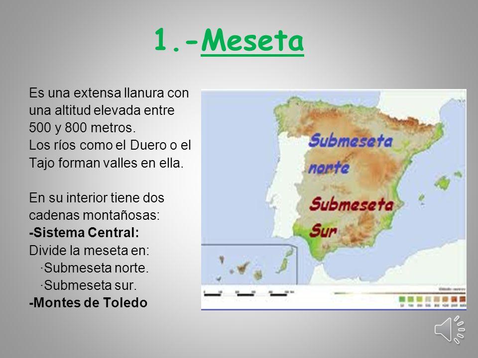 1.-Meseta Es una extensa llanura con una altitud elevada entre 500 y 800 metros.