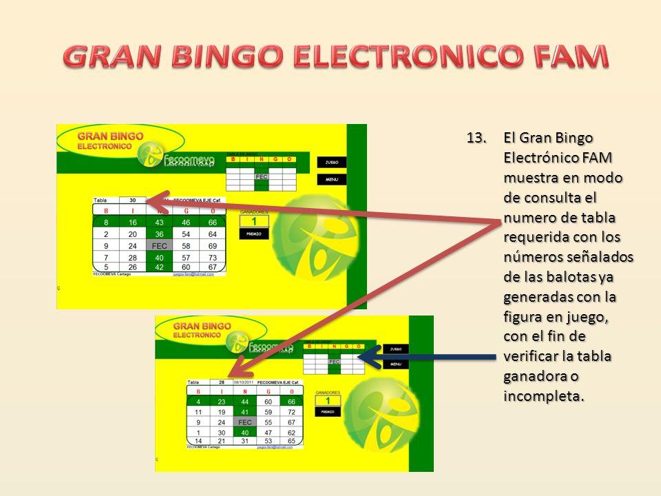 12.El Gran Bingo Electrónico FAM muestra todas las tablas en juego con los números ya sorteados en la figura seleccionada, ej: Tabla 30 ya completada