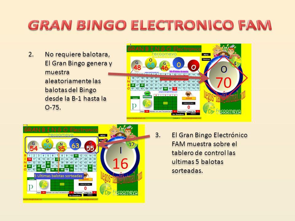 1.El Gran Bingo Electrónico FAM publica el nombre y/o logo de su empresa o institución en todos los módulos del mismo mientras esta en juego.