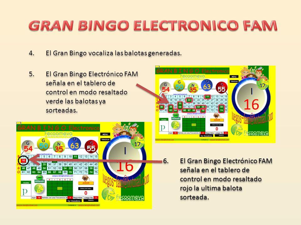 3. El Gran Bingo Electrónico FAM muestra sobre el tablero de control las ultimas 5 balotas sorteadas. 2.No requiere balotara, El Gran Bingo genera y m