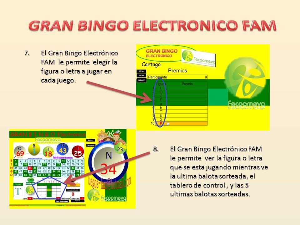 4.El Gran Bingo vocaliza las balotas generadas. 5.El Gran Bingo Electrónico FAM señala en el tablero de control en modo resaltado verde las balotas ya