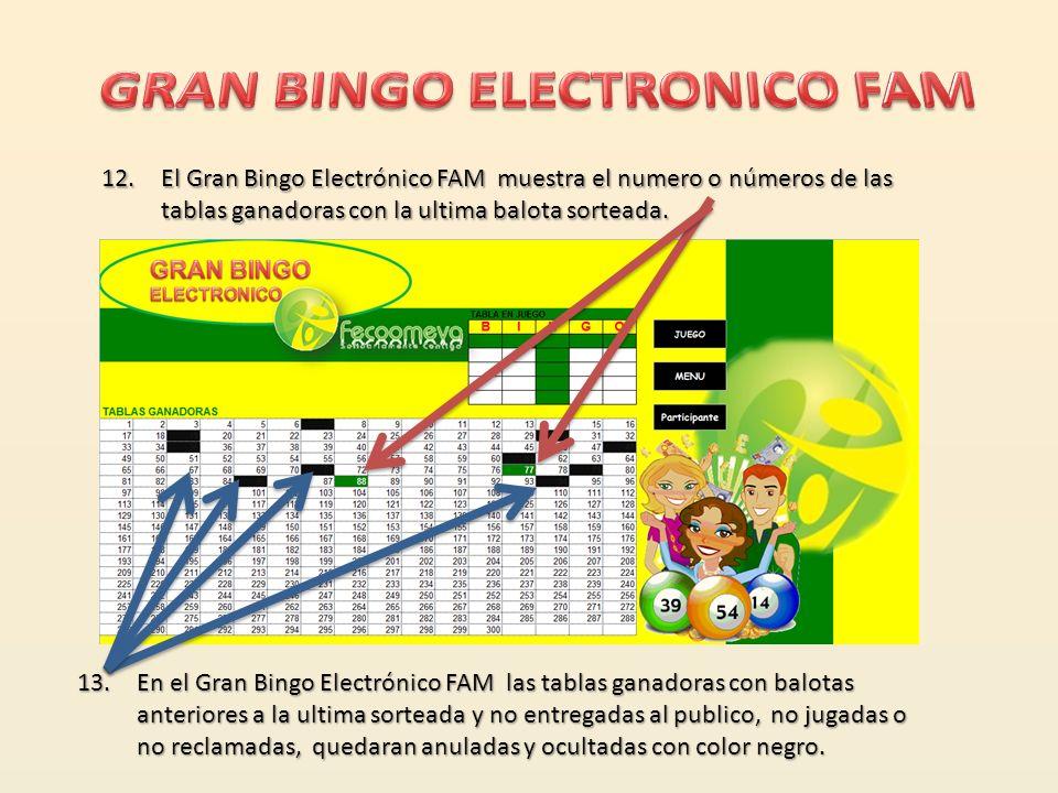10. El Gran Bingo Electrónico FAM detiene la generación automática de balotas e indica la cantidad cuando hay 1 o mas tablas ganadoras con la ultima b