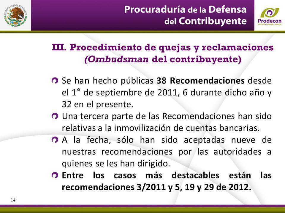 PROCURADURÍA DE LA DEFENSA DEL CONTRIBUYENTE III. Procedimiento de quejas y reclamaciones (Ombudsman del contribuyente) Se han hecho públicas 38 Recom
