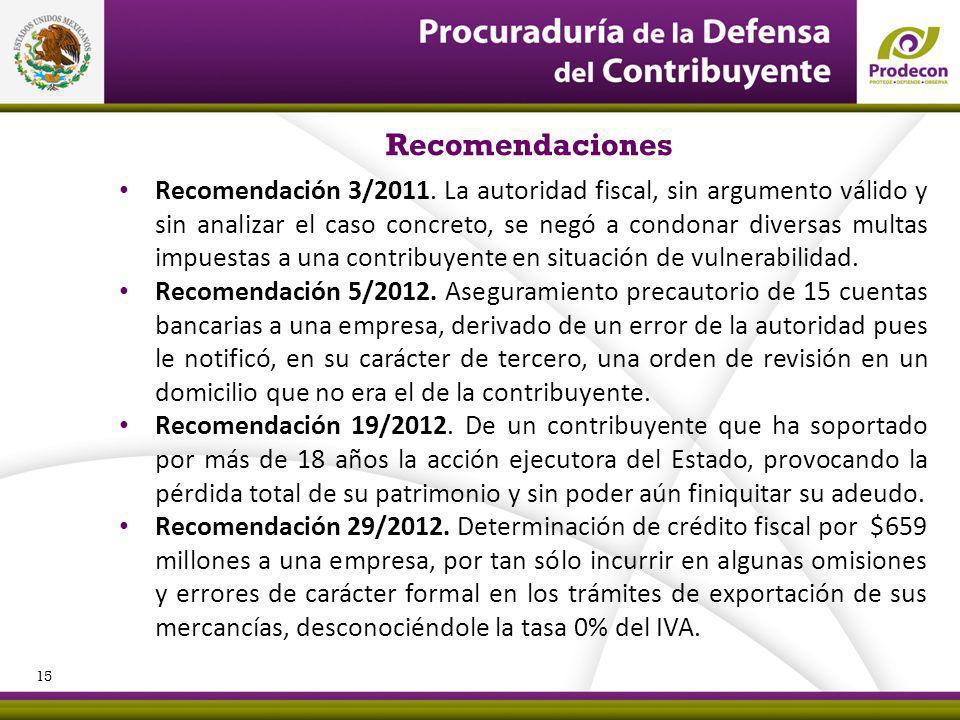 PROCURADURÍA DE LA DEFENSA DEL CONTRIBUYENTE Recomendaciones Recomendación 3/2011. La autoridad fiscal, sin argumento válido y sin analizar el caso co