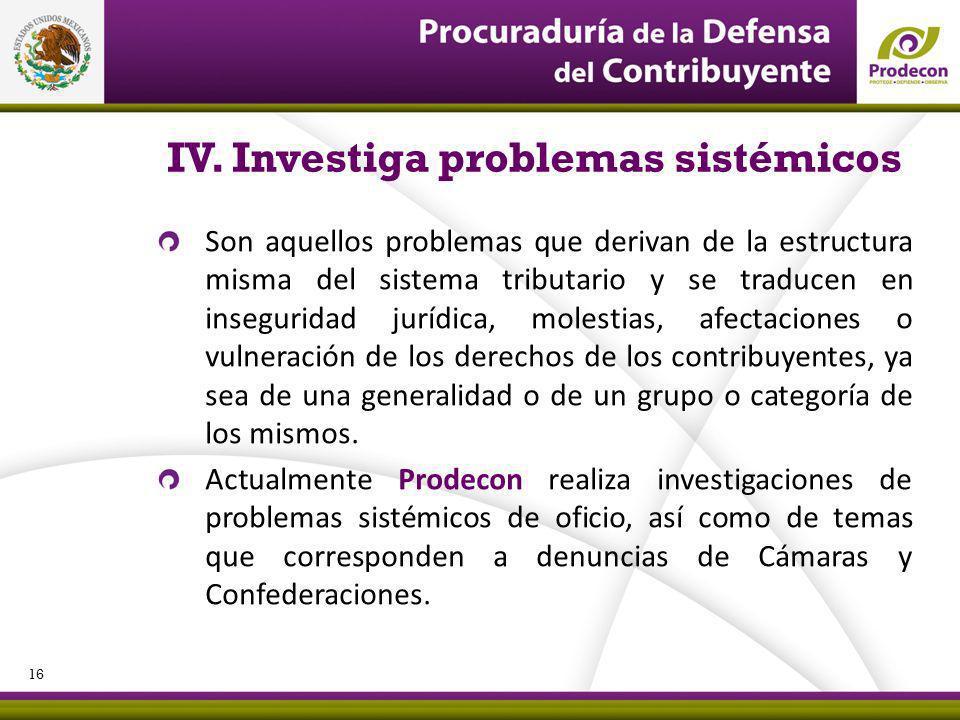 IV. Investiga problemas sistémicos Son aquellos problemas que derivan de la estructura misma del sistema tributario y se traducen en inseguridad juríd